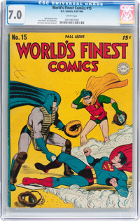 World's Finest Comics #15 (DC, 1944) CGC FN/VF 7.0 White pages