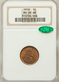 Lincoln Cents, 1918 1C MS65 Red and Brown NGC. CAC....