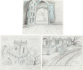 "Animation Art:Production Drawing, The New Scooby Doo Movies Episode #61-6 ""Wednesday'sMissing"" Animation Background Production Drawing Original ArtGro... (Total: 3 Original Art)"