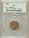 Flying Eagle Cents: , 1857 1C MS62 PCGS. PCGS Population (405/1933). NGC Census:(300/1634). Mintage: 17,450,000. Numismedia Wsl. Price for probl...