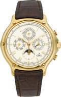 Timepieces:Wristwatch, Ebel Fine 18k Gold Quantieme Perpetual Automatic Chronograph WithMoon Phase. ...
