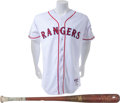 Baseball Collectibles:Uniforms, 2012 Ian Kinsler Game Worn Texas Rangers Throwback Uniform &Game Used Bat....