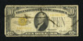 Small Size:Gold Certificates, Fr. 2400 $10 1928 Gold Certificate. Very Good.. The print still is legible beneath the soiling seen on the face....