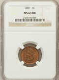 Indian Cents: , 1891 1C MS63 Red and Brown NGC. NGC Census: (93/247). PCGSPopulation (126/226). Mintage: 47,072,352. Numismedia Wsl. Price...