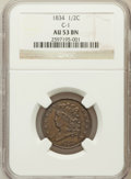 Half Cents, 1834 1/2 C AU53 NGC. C-1. NGC Census: (23/383). PCGS Population(29/317). Mintage: 141,000. Numismedia Wsl. Price for probl...