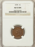 Indian Cents: , 1878 1C AU53 NGC. NGC Census: (17/193). PCGS Population (11/158).Mintage: 5,799,850. Numismedia Wsl. Price for problem fre...