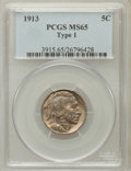 Buffalo Nickels: , 1913 5C Type One MS65 PCGS. PCGS Population (3224/2214). NGCCensus: (2362/1502). Mintage: 30,993,520. Numismedia Wsl. Pric...