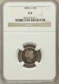 Barber Dimes: , 1896-S 10C Good 6 NGC. NGC Census: (6/95). PCGS Population(15/172). Mintage: 575,056. Numismedia Wsl. Price for problem fr...