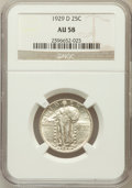 Standing Liberty Quarters: , 1929-D 25C AU58 NGC. NGC Census: (103/595). PCGS Population(162/825). Mintage: 1,358,000. Numismedia Wsl. Price for proble...