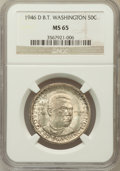 Commemorative Silver: , 1946-D 50C Booker T. Washington MS65 NGC. NGC Census: (633/300).PCGS Population (885/311). Mintage: 200,113. Numismedia Ws...