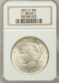 Peace Dollars: , 1922-D $1 MS63 NGC. NGC Census: (1596/3891). PCGS Population(2884/4424). Mintage: 15,063,000. Numismedia Wsl. Price for pr...