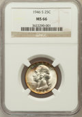 Washington Quarters: , 1946-S 25C MS66 NGC. NGC Census: (2242/324). PCGS Population(1435/118). Mintage: 4,204,000. Numismedia Wsl. Price for prob...