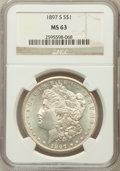 Morgan Dollars: , 1897-S $1 MS63 NGC. NGC Census: (1893/3030). PCGS Population(2813/4167). Mintage: 5,825,000. Numismedia Wsl. Price for pro...