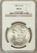Morgan Dollars: , 1882-CC $1 MS64 NGC. NGC Census: (5023/3347). PCGS Population(10587/6063). Mintage: 1,133,000. Numismedia Wsl. Price for p...