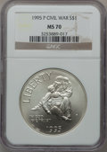 Modern Issues: , 1995-P $1 Civil War Silver Dollar MS70 NGC. NGC Census: (114). PCGSPopulation (145). Numismedia Wsl. Price for problem fr...