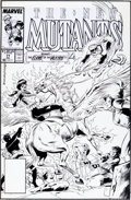 Original Comic Art:Covers, Rich Buckler and Bob McLeod The New Mutants #77 Cover Original Art (Marvel, 1989)....