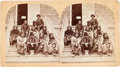 American Indian Art:Photographs, NORTHERN CHEYENNE PRISONERS AWAITING TRIAL IN DODGE CITY, KANSAS,STEREOVIEW BY J. R. RIDDLE...