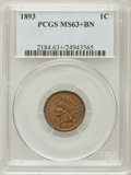 Indian Cents, 1893 1C MS63+ Brown PCGS. PCGS Population (58/64). NGC Census:(55/136). Mintage: 46,642,196. Numismedia Wsl. Price for pro...