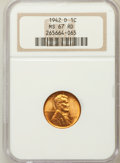 Lincoln Cents: , 1942-D 1C MS67 Red NGC. NGC Census: (801/0). PCGS Population(264/2). Mintage: 206,698,000. Numismedia Wsl. Price for probl...