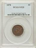 Indian Cents: , 1878 1C VF25 PCGS. PCGS Population (17/319). NGC Census: (3/268).Mintage: 5,799,850. Numismedia Wsl. Price for problem fre...