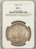 Morgan Dollars: , 1888-S $1 MS61 NGC. NGC Census: (251/2661). PCGS Population(299/4908). Mintage: 657,000. Numismedia Wsl. Price for problem...