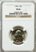 Proof Washington Quarters: , 1942 25C PR66 NGC. NGC Census: (707/229). PCGS Population(965/162). Mintage: 21,123. Numismedia Wsl. Price for problemfre...
