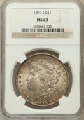 Morgan Dollars: , 1891-S $1 MS63 NGC. NGC Census: (1715/1537). PCGS Population(2528/2429). Mintage: 5,296,000. Numismedia Wsl. Price for pro...