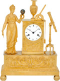 "Timepieces:Clocks, French Fine Empire Ormolu ""Urania"" Eight Day Hour & Half Hour Striking Mantle Clock, circa 1815. ..."