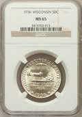 Commemorative Silver: , 1936 50C Wisconsin MS65 NGC. NGC Census: (1321/1612). PCGSPopulation (2224/1978). Mintage: 25,015. Numismedia Wsl. Price f...