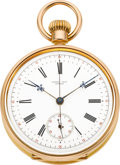 "Timepieces:Pocket (pre 1900) , Henry Capt ""Demi-Chronometer"" Fine Gold Pocket Watch With Chronograph, circa 1880. ..."