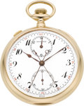 Timepieces:Pocket (post 1900), Agassiz Gold Split Second Chronograph With Register, circa 1905. ...