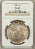 Peace Dollars: , 1927-D $1 MS61 NGC. NGC Census: (212/2061). PCGS Population(255/3860). Mintage: 1,268,900. Numismedia Wsl. Price for probl...