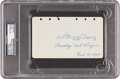 Autographs:Others, 1929 Dazzy Vance Signed & Notated Album Page....