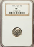 Roosevelt Dimes: , 1982 10C No P MS63 NGC. NGC Census: (32/269). PCGS Population(143/1758). Numismedia Wsl. Price for problem free NGC/PCGS ...