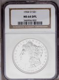Morgan Dollars: , 1904-O $1 MS64 Deep Mirror Prooflike NGC. NGC Census: (254/90). PCGS Population (233/123). Numismedia Wsl. Price: $240. (#...