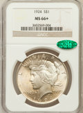 Peace Dollars: , 1924 $1 MS66+ NGC. CAC. NGC Census: (1347/81). PCGS Population(514/24). Mintage: 11,811,000. Numismedia Wsl. Price for pro...