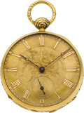 Timepieces:Pocket (pre 1900) , Swiss 18k Gold Key Wind With Parachute & Compensation, circa1860's. ...