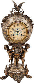 Timepieces:Clocks, Japy Freres Fine Figural Silver Plate Mantle Clock With EnameledDial. ...