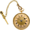 Timepieces:Pocket (pre 1900) , Le Roy Paris Gold & Pearl Verge Fusee, circa 1830. ...