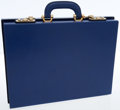 Luxury Accessories:Bags, Mark Cross Blue Leather Briefcase Bag. ...