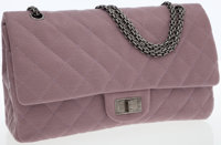 Chanel Lilac Microfiber Jersey Maxi Double Flap Bag with Gunmetal Mademoiselle Hardware
