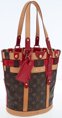 Louis Vuitton Classic Monogram Canvas and Rubis Leather Neo Bucket Bag