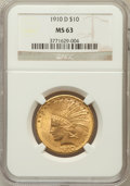 Indian Eagles, 1910-D $10 MS63 NGC....