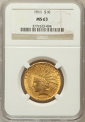 Indian Eagles, 1911 $10 MS63 NGC....