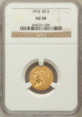 Indian Quarter Eagles: , 1912 $2 1/2 AU58 NGC. NGC Census: (1674/6322). PCGS Population(760/2866). Mintage: 616,000. Numismedia Wsl. Price for prob...