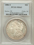 Morgan Dollars: , 1886-S $1 MS63 PCGS. PCGS Population (1721/1536). NGC Census:(950/845). Mintage: 750,000. Numismedia Wsl. Price for proble...