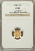 Gold Dollars: , 1852-O G$1 AU58 NGC. NGC Census: (151/152). PCGS Population(31/64). Mintage: 140,000. Numismedia Wsl. Price for problem fr...
