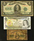 Canadian Currency: , Canada 1870; 1923; and 1973. . ... (Total: 3 notes)