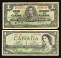 Canadian Currency: , Two Different Canadian $1 Types.. ... (Total: 2 notes)
