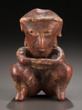 Pre-Columbian:Ceramics, A NAYARIT FIGURE SHOWN SQUATTING WITH ARMS ON KNEES. c. 200 BC -200 AD...